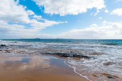 Panorama of beautiful beach and tropical sea of Lanzarote. Canaries.  stock photography