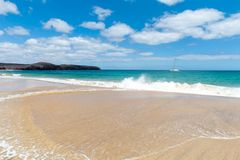 Panorama of beautiful beach and tropical sea of Lanzarote. Canaries.  royalty free stock photo