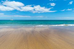 Panorama of beautiful beach and tropical sea of Lanzarote. Canaries royalty free stock image
