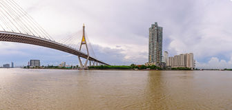 Panorama of Beautiful Big Bhumibol Bridge Royalty Free Stock Image