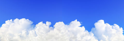 panorama of beautiful blue sky and huge white cloud royalty free stock photos