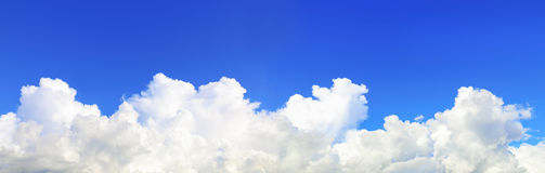 panorama of beautiful blue sky and huge white cloud royalty free stock photo