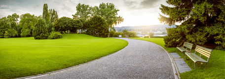 Panorama of a beautiful city park Stock Photography