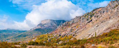 Panorama of beautiful colourful autumn landscape in mountains Stock Photo