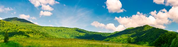 Panorama of beautiful countryside in summer. Beautiful landscape with forested mountains and grassy field under the blue sky with some clouds Royalty Free Stock Image