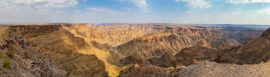 Panorama of beautiful Fish River Canyon in the south of Namibia, Southern Africa royalty free stock image