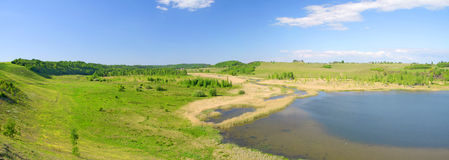 Panorama of beautiful green valley. Izborsk, Pskov Royalty Free Stock Images