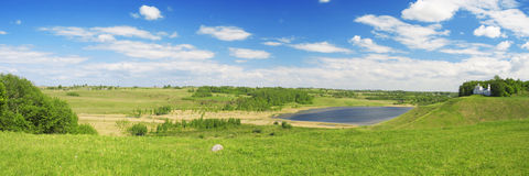 Panorama of beautiful green valley. Izborsk, Pskov Royalty Free Stock Photography