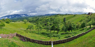 Panorama with beautiful green, vibrant mountains Royalty Free Stock Image