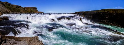 Panorama of the beautiful Gullfoss waterfall in Iceland 11.06,2017 royalty free stock photography