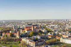 Panorama of beautiful Krakow, former capital city of Poland, Eur Royalty Free Stock Photos