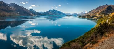 Panorama of beautiful Lake Wakatipu in New Zealands. Bennett`s Bluff Lookout, New Zealand -Panorama of a viewpoint on one of the most scenic drives in New Royalty Free Stock Photo