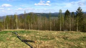 Panorama beautiful landscape in the Carpathian mountains in Ukraine in springtime. stock video footage