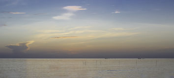 Panorama beautiful landscape of summer sunset or sunrise Royalty Free Stock Photography