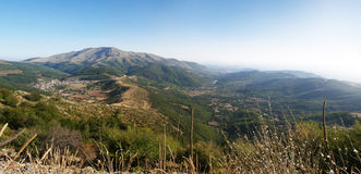 Panorama of Beautiful Mountain Landscape. With village of greece, vlasti Royalty Free Stock Images