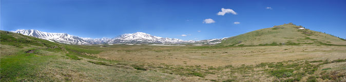 Panorama beautiful mountain nature. In Altai Stock Image