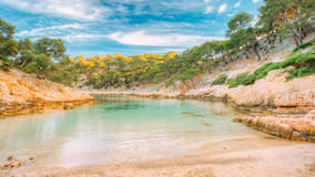 Panorama Of Beautiful Nature Of Calanques On The Azure Coast Of France Royalty Free Stock Photo