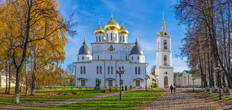 Panorama of the beautiful orthodox cathedral in Dmitrov, Russia Stock Image