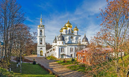 Panorama of the beautiful orthodox cathedral in Dmitrov, Russia Royalty Free Stock Image