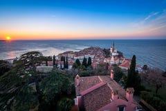Panorama of beautiful Piran Stock Images
