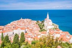 Panorama of beautiful Piran, Slovenia Royalty Free Stock Images