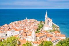 Panorama of beautiful Piran, Slovenia Stock Photo