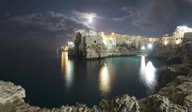 Polignano by night stock photo