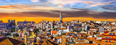 Panorama of beautiful Porto over sunset .Portugal Royalty Free Stock Photography