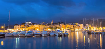 Panorama of beautiful Saint Florent town and harbour, Corsica Royalty Free Stock Photography