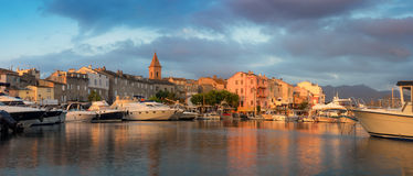 Panorama of beautiful Saint Florent town and harbour, Corsica Stock Image
