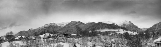 Panorama of a beautiful scenery of winter mountain Stock Photography