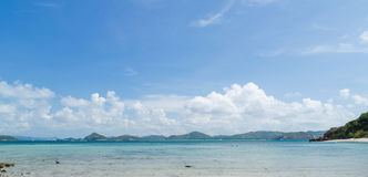 Panorama of beautiful sea and blue sky in summer at chonburi thailand Royalty Free Stock Photography