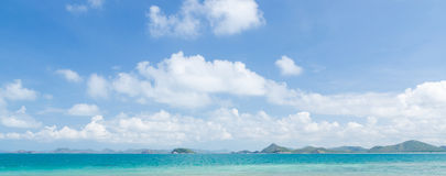 Panorama of beautiful sea and blue sky in summer at chonburi thailand Stock Photo