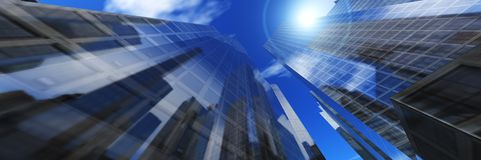 Panorama of beautiful skyscrapers against the sky with clouds Royalty Free Stock Images