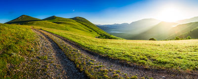 Panorama of beautiful sunrise over mountains in Umbria, Italy Royalty Free Stock Image