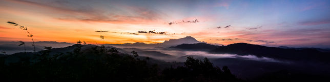 Panorama with beautiful sunrise royalty free stock images