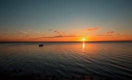 Panorama of beautiful sunset on Baltic sea. Royalty Free Stock Image