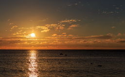 Panorama of beautiful sunset on Baltic sea. Royalty Free Stock Photos