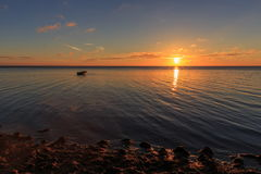 Panorama of beautiful sunset on Baltic sea. Stock Photography