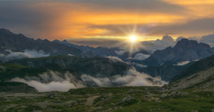 Panorama of beautiful sunset in Dolomities Royalty Free Stock Images
