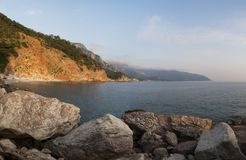 Panorama of a beautiful sunset on the Mediterranean coast of Tur. Key; Colorful seascape; Natural background royalty free stock photos