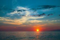 Panorama of beautiful sunset on the Sea. Nature. Royalty Free Stock Image