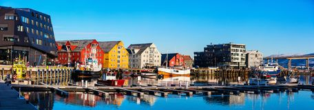 Tromso in Northern Norway. Panorama of beautiful town of Tromso in Northern Norway at dusk twilight stock photo