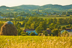 Panorama of the beautiful village at sunset Royalty Free Stock Image