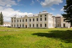 Vyshnivets, Ukraine - July 07 2017: Panorama of beautiful Vyshnevetsky family palace in Ternopil region at sunny day. Panorama of beautiful Vyshnevetsky family Royalty Free Stock Photo