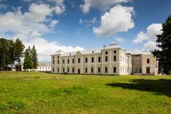 Vyshnivets, Ukraine - July 07 2017: Panorama of beautiful Vyshnevetsky family palace in Ternopil region at sunny day. Panorama of beautiful Vyshnevetsky family Royalty Free Stock Photos