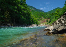 Panorama of beautiful White river in caucasian mountains in Adygea, Russia 23 Region Krasnodar Stock Photo