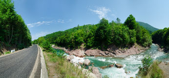 Panorama of beautiful White river in caucasian mountains in Adygea, Russia 23 Region Krasnodar Royalty Free Stock Images