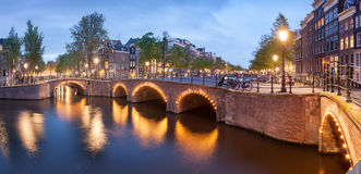 Panorama of beautifull Amsterdam canals with bridge, Holland Stock Photography