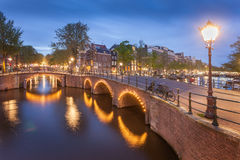 Panorama of beautifull Amsterdam canals with bridge, Holland. Beautiful panoramic view of Amsterdam canals with bridge and typical dutch houses. Holland Royalty Free Stock Photo